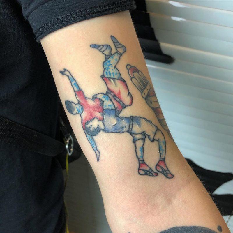 Tatuaje de dos luchadores