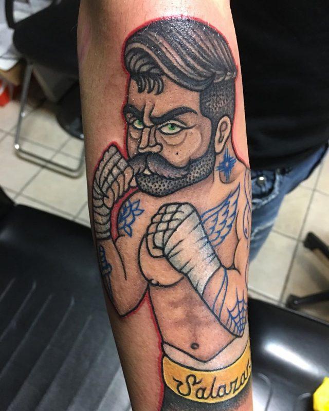 Mark Paxton👽 Alamogordo NM 2019.12.22 2 of 4 The tattoo I did today 🥊 traditionaltattoo art tattoos artist boxertatt