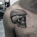 3d unique skull with hat mens upp chest shoulder tattoo