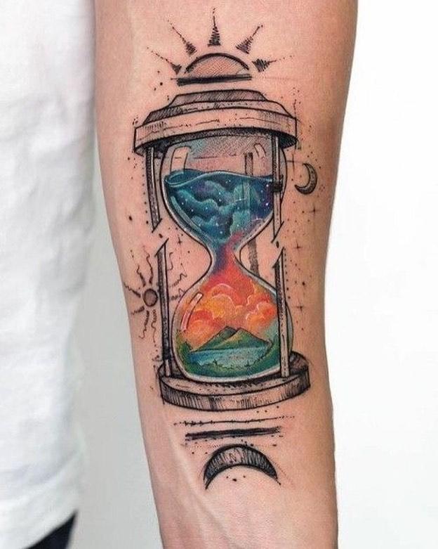 tatuaje de relojes de arena